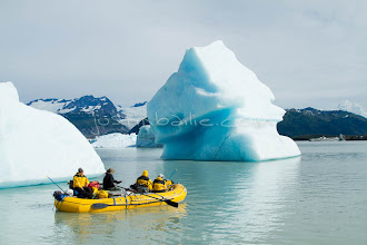 """Photo: Floating through icebergs on Alsek Lkae while on raft trip down the Tashenshini River. The """"Tat"""" flows out of Yukon, CA, through British Columbia and empties into Glacier Bay National Park in Alaska, US."""