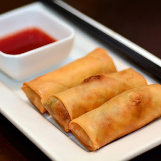 Ground Beef Egg Rolls With Thick Sweet And Sour Sauce.