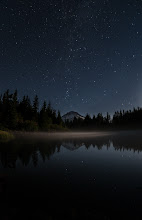 Photo: Mirror Lake  Last night I cruised up to Mirror Lake with +Wick Sakitto shoot some stars. We hiked in and set up camp for a bit. I gotta tell you, I loved it. The stars were brilliant, the mist on the water was just right, and the reflection was amazing. This is where I truly wished I had a full frame sensor to capture more of what could be seen but for now my trusty D300s will do just fine. This night shooting is fun but man, let me tell you, this old dude suffered a bit today after not getting to bed until almost 4am.  #stars  #nightphotography  #mthood
