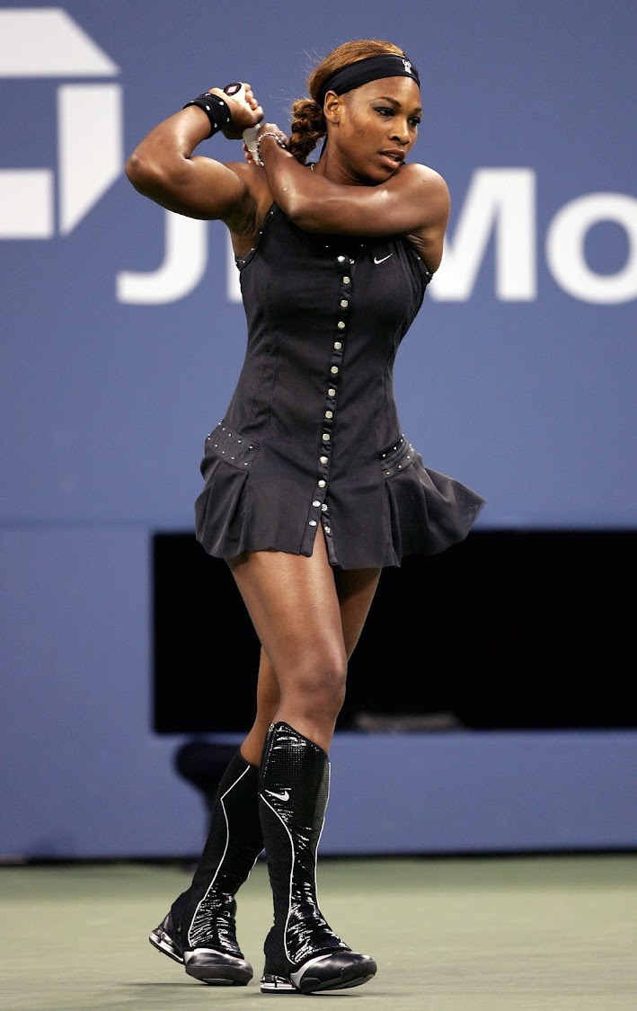 Serena Williams at the 2004 US Open in New York. (Photo by Al Bello/Getty Images)