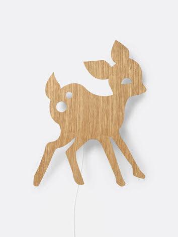 ferm LIVING Vägglampa My Deer Oljad Ek