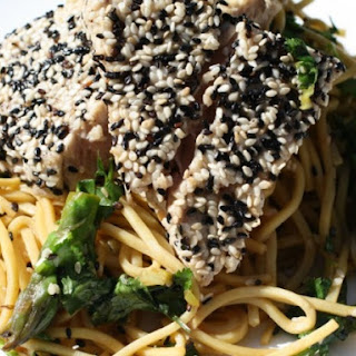 Sesame Seared Tuna with Soy Lime Noodles.