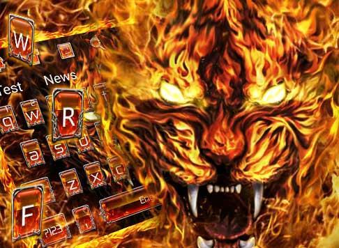 Grim Fire Tiger Keyboard Theme 10001003 screenshots 5