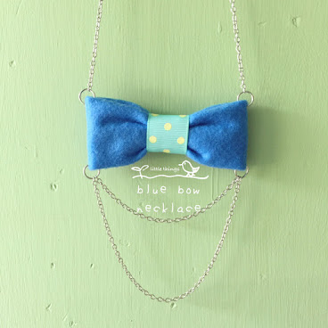 blue bow necklace