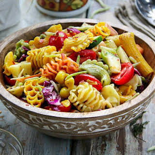 Colorful Pasta Salad with Italian Dressing.