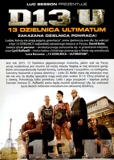 Tył ulotki filmu '13 Dzielnica - Ultimatum'
