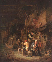 Photo: 1647 peasant family. Here we have a tattered bit of cloth hanging above the fire. I was told once that the reason for the cloth was that it helped keep down any smoke. There's a spiral staircase to a sleeping loft and what appears to be a wicker cradle on the floor.