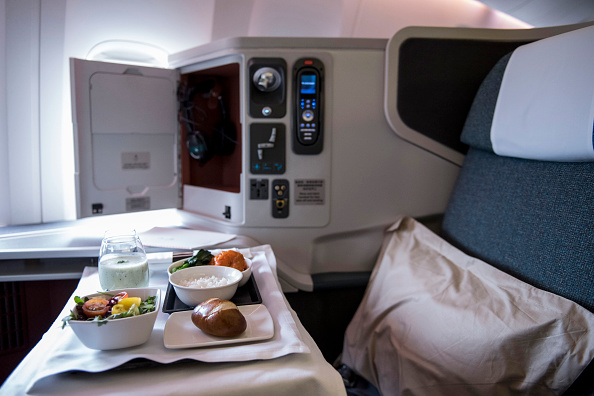 Business-class seat onboard a Boeing Co. 777-300 aircraft, Cathay Pacific.