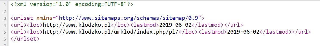 sitemap podgląd kodu