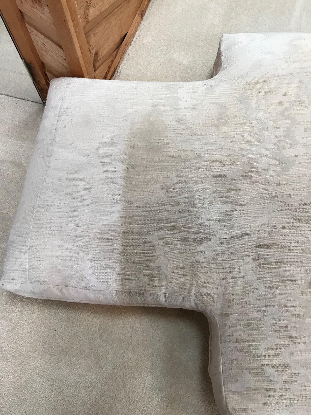 Before and after Hammond Knoll cleaned a cushion