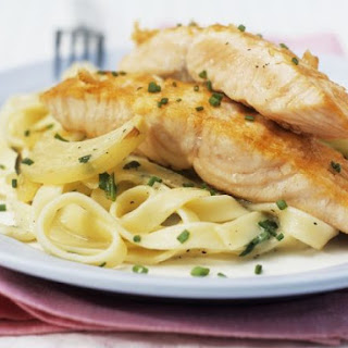 Salmon with Fresh Chives and Tagliatelle.