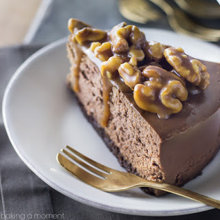Double Chocolate Brownie Cheesecake with Salted Caramel Wet Walnuts.