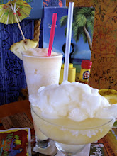 Photo: And the traditional morning tropical drinks at Margaritaville in the airport.