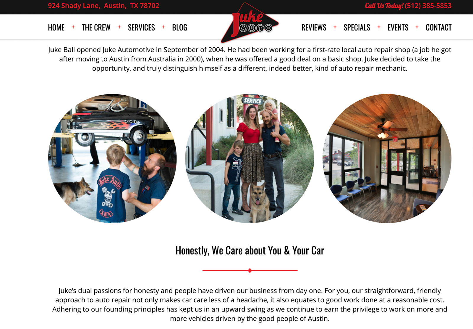 Example Auto Body About Us Page