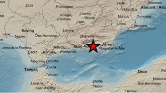 Mapa del IGN donde la estrella marca el punto donde se registra el terremoto.