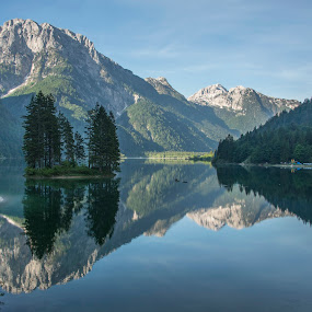 Peaceful morning at the lake by Aleš Krivec - Landscapes Mountains & Hills ( clear, mountains, reflection, sky, duck, lake )