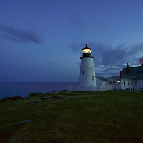 Pemaquid Night by Joe Fazio - Buildings & Architecture Public & Historical