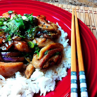 Spicy Stir Fry Chicken with Eggplant and Jasmine Rice.