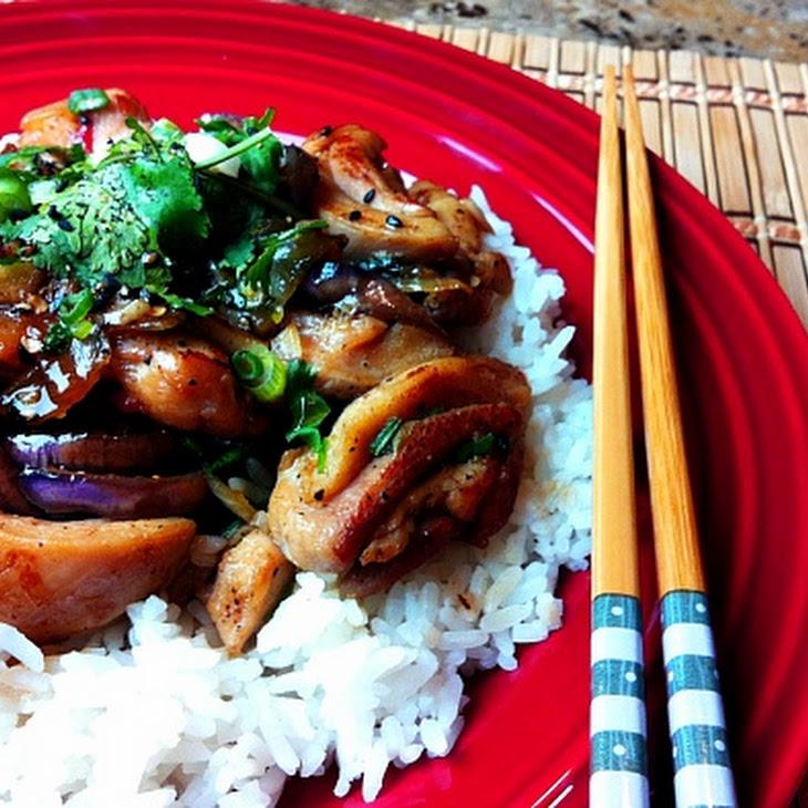 Spicy Stir Fry Chicken with Eggplant and Jasmine Rice Recipe