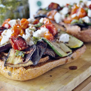 Open Faced Chargrilled Vegetable Sandwich.