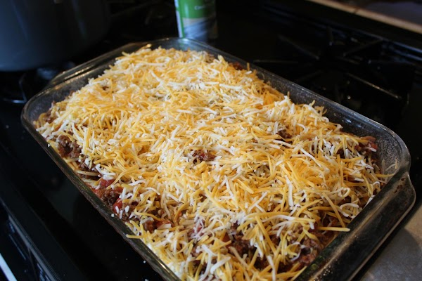 Top with the shredded cheese and bake at 350 until the cheese is melted...
