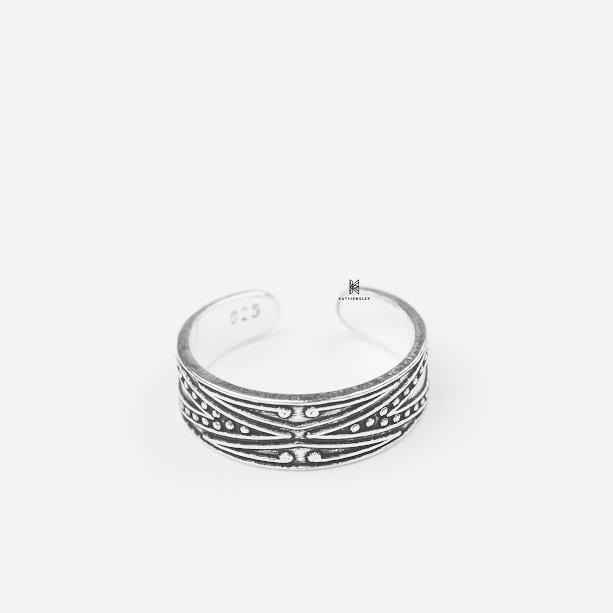Nhẫn bạc cao cấp 925 toe ring hoa văn