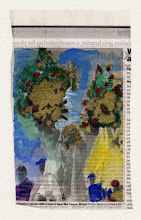 Photo: Protesters Uproot GM Crops In Nao-Me-Toque, Brazil. Watercolor and gold leaf on newspaper, (110 x 180 mm).