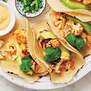 Roasted Cauliflower Tacos with Chipotle Cream.
