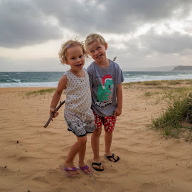 On The Sand by Geoffrey Wols - Babies & Children Children Candids ( children, girl, boy, brother, sister,  )