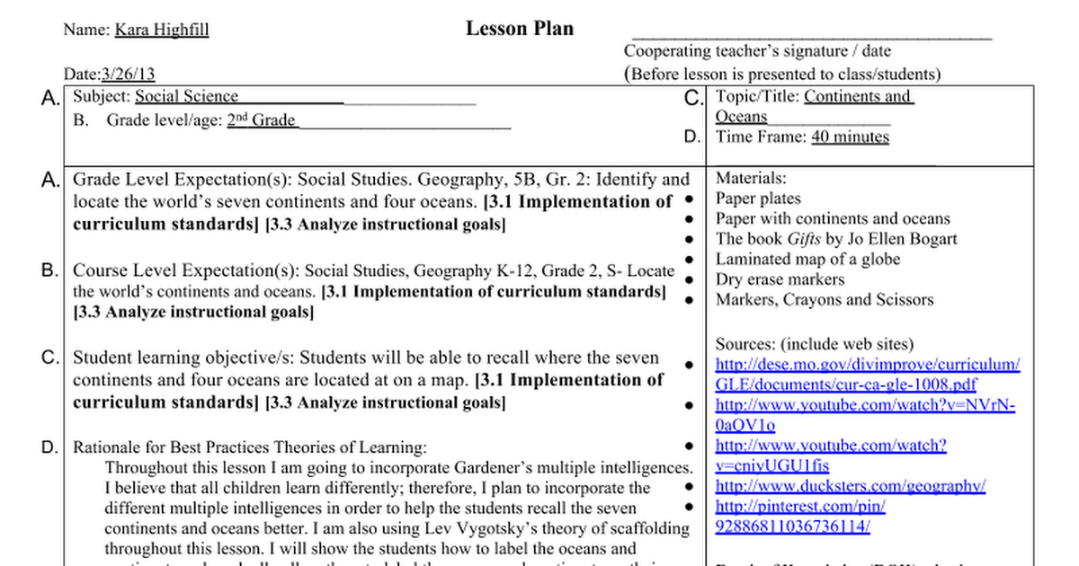 Continents And Oceans Lesson Plan 2nd Grade Ss Google Docs