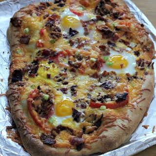 Cheesy Breakfast Pizza.