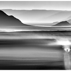 Namibian Tones by Lani Edwards - Landscapes Deserts ( desert, black and white, dust, sunrise, namibia )