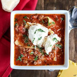 Venison Lasagna Soup.