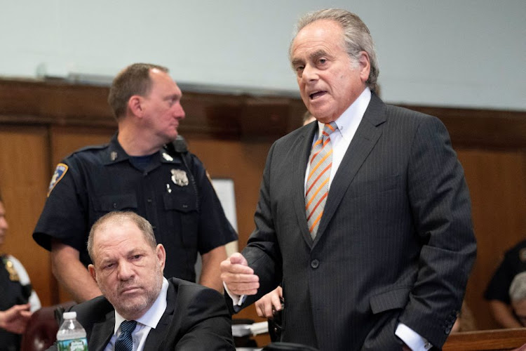 Film producer Harvey Weinstein sits beside his lawyer Benjamin Brafman during his hearing at Manhattan Criminal Court in New York, US on October 11 2018.