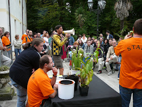 Photo: AIPC-member Andrea is managing the great and funny plant auction.