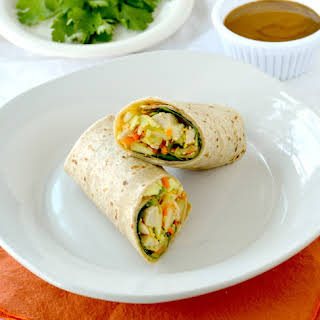 Chicken Wrap with Spicy Peanut Sauce.