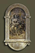 """Photo: Karol Lis """"Św. Anna Samotrzeć wg. Leonarda da Vinci w architektonicznym"""" stiukowa aedicula, tempera na desce"""