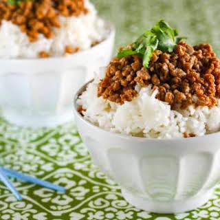 Gluten Free Korean Turkey and Rice Bowl.