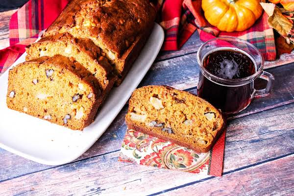 Chunky Apple Pumpkin Bread With A Cup Of Tea.