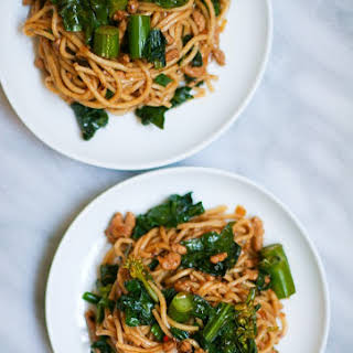 Spicy Pork Noodles with Chinese Broccoli.