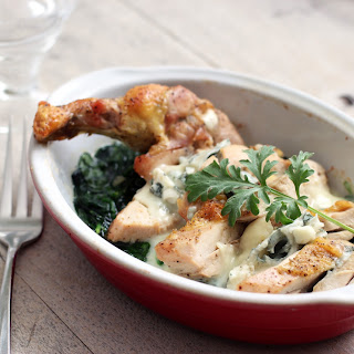 Guinea Fowl Supreme with Roquefort and Spinach