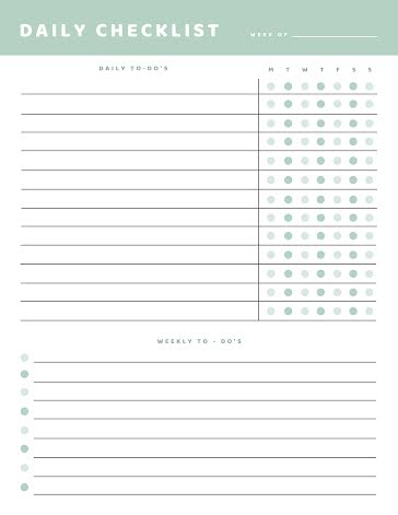 Daily Checklist - Planner template