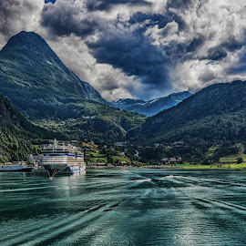 End of the Fjord by Richard Michael Lingo - Landscapes Mountains & Hills ( mountains, waterscape, landscape, fjord, norway )