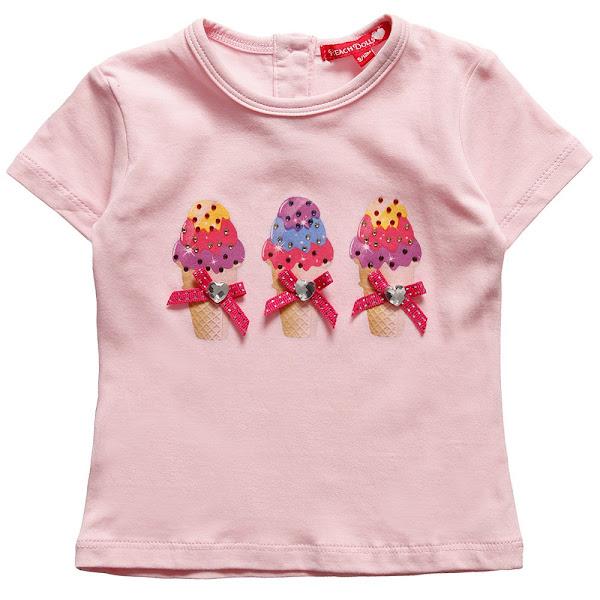 Photo: Silvian Heach  Girls Pink Cotton Ice-Creams T-Shirt with Diamante http://www.childrensalon.com/girls-pink-ice-creams-t-shirt-with-diamante.html  Price: £18 Size range: 6-24 months