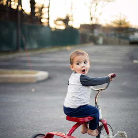 Go'in for a Ride by Marco Vergara - Babies & Children Children Candids ( natural light, tricycle, radio flyer, boy )