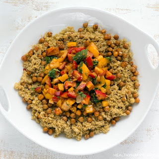 Cheezy Quinoa with Heirloom Tomatoes and Skillet Chickpea