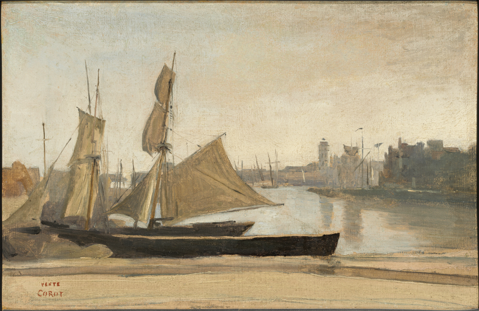 An Jean-Baptiste Camille Corot painting of a French Schooner boat