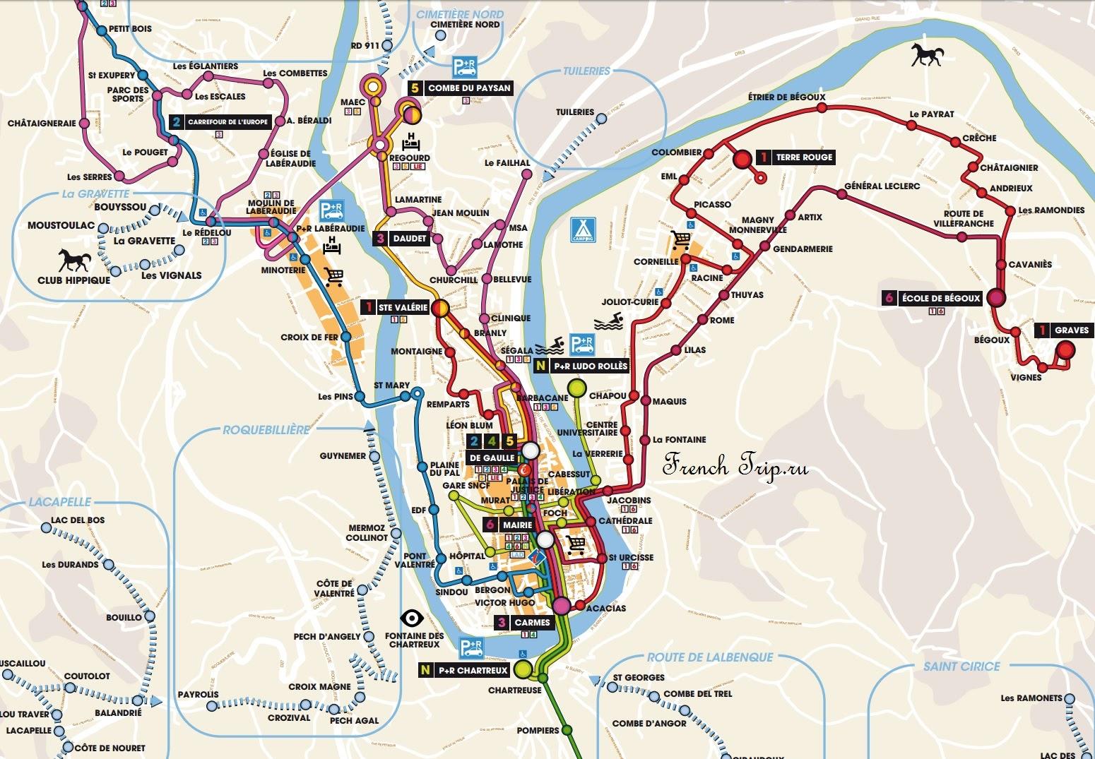Схема линий маршрутов автобусов в центра Каора: