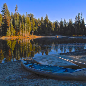 magic sunrise by GUILLAUME FUNFROCK - Landscapes Sunsets & Sunrises ( orange, reflection, blue, color, green, canoe, lake )