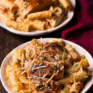 Seared Chicken Pasta in Chardonnay Wine Sauce.